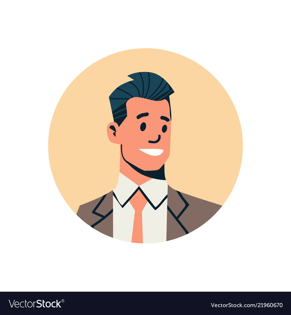 brunette businessman avatar man face profile icon concept online support service male cartoon character portrait isolated flat vector illustration